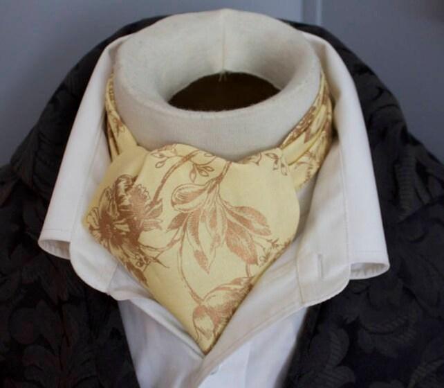 6e1062e31efc Yellow and Metallic Gold - DAY Cravat Victorian Ascot Tie Cravat - Pure  Cotton