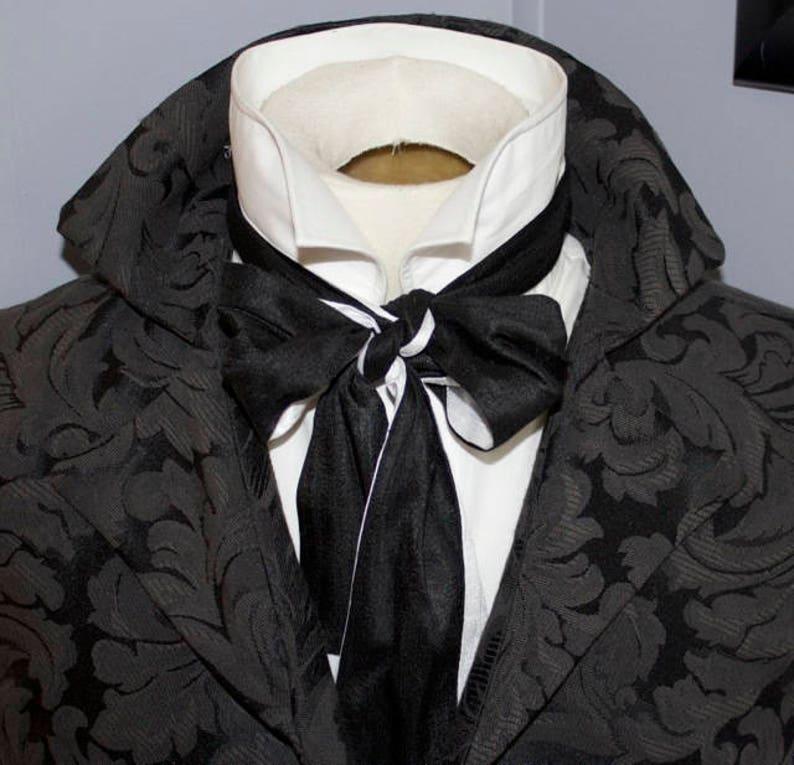 7c2072c19ba7 Slim Black and White Tuxedo REGENCY Tie Ascot Cravat Pure   Etsy