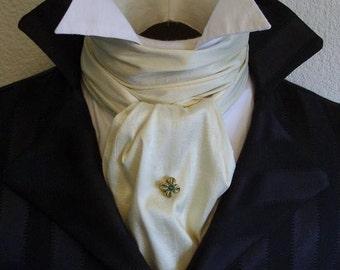 REGENCY Brummel Victorian Ascot Necktie Tie Cravat - IVORY White Dupioni Silk
