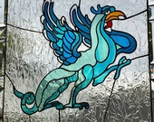 Stained Glass Panel Dragon Stain Glass Window Fantasy Griffin - Free Shipping in US
