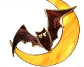 Halloween Decoration Stained Glass Suncatcher Purple Orange Bat Moon