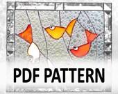 PDF Pattern for Stained Glass - Four Gold Fish - FleetingStillness Original Design