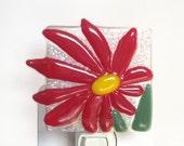 Red Flower Night Light Fused Glass Flower Easter Nightlight