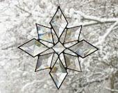 Stained Glass Star Sun Catcher Beveled Suncatcher Snowflake Christmas Beveled Window Hanging (9bv Large)
