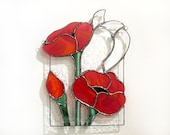 Poppies Stained Glass Suncatcher Panel Red Poppy Window Hanging