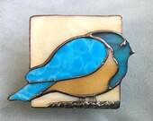 Blue Bird  Glass Night Light Beige Stained Glass Bluebird Nightlight