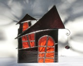 Halloween Decor Stained Glass Candle Holder Haunted House Orange Purple