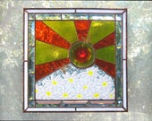 Daisies Stained Glass Window Panel Yellow Orange White Summer Sunshine Stain Glass Free Shipping in US