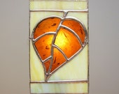 Leaf Stained Glass Night Light Amber Brown Unique Lighting Nightlight