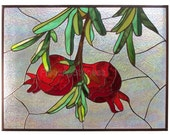 Stained Glass Panel Red Pomegranates Stain Glass Window Panel