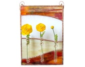 Brown Stained Glass Panel Bud Vase Beige Wall Art Stain Glass