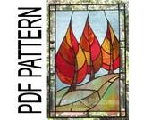 PDF Pattern for Stained Glass - Flaming September - FleetingStillness Original Design
