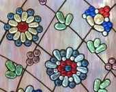 Stained Glass Window Panel Flowers Modern Colorful Garden Stain Glass Window