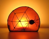 Halloween Decoration Stained Glass Candle Holder Black Spider Orange Moon