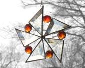 Stained Glass Suncatcher Orange Star Flower Snowflake Window Hanging