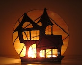 Halloween Stained Glass Candle Holder Decoration Haunted Mansion Wicca Halloween Decor Lighting Orange Purple