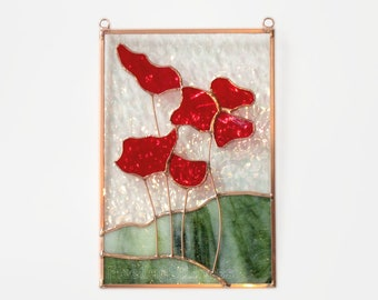 Poppies Stained Glass Sun Catcher Panel Red Poppy Stain Glass Mothers Day Free Shipping in US