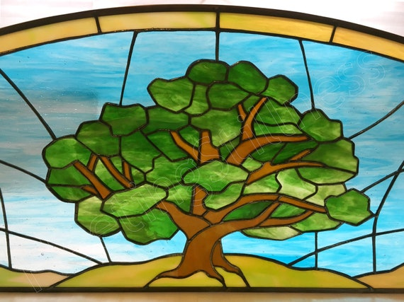 Tree Stained Glass Transom Custom, Stained Glass Trees Images