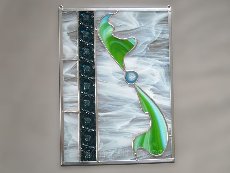 Turquoise Stained Glass Panel Blue Green Abstract Stain Glass Sun Catcher Free Shipping in US