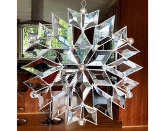 Bevel Snowflake Stained Glass Suncatcher Star Christmas
