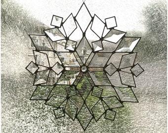 Bevel Star Stained Glass Suncatcher Snowflake Christmas