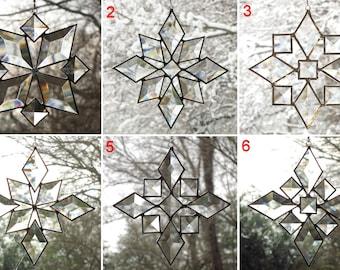 Star Beveled Sun Catcher SET of 6 Beveled Stained Glass Snowflake Suncatcher Window Hanging