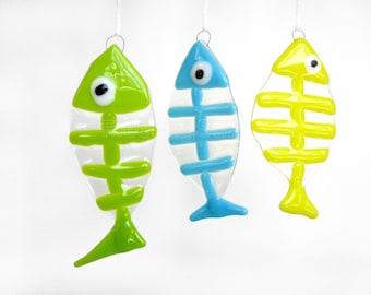 Fish Skeleton Sun Catcher Ornament Fused Glass Sun Catcher Window Hanging