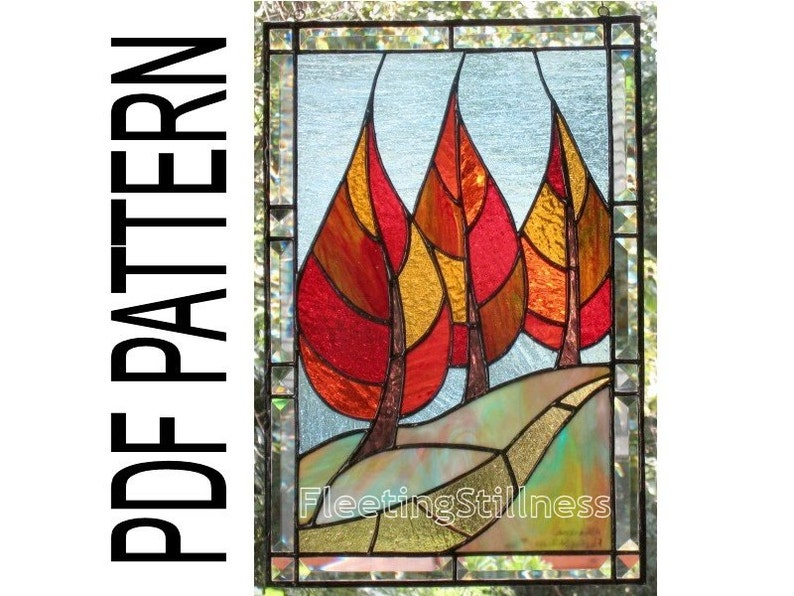 PDF Pattern for Stained Glass  Flaming September  image 1