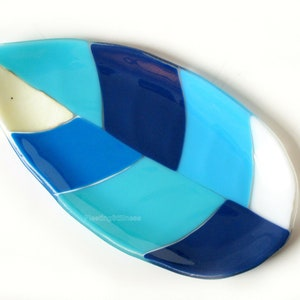 Nebula Platter Green Blue White Fused Glass Platter Abstract 9x9