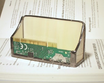 Business Card Holder Circuit Board Geekery Mens Stained Glass Handmade OOAK