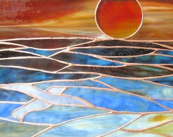 Ocean Sunset Stained Glass Panel Blue Sunrise CUSTOM Stain Glass Window Panel