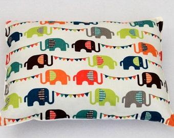 Elephants Organic Nursery Pillow -Nursery Decor - Toddler Pillow -  Elephants Toddler Bedding-Nursery Decor Pillow-Elephant Baby Bedding