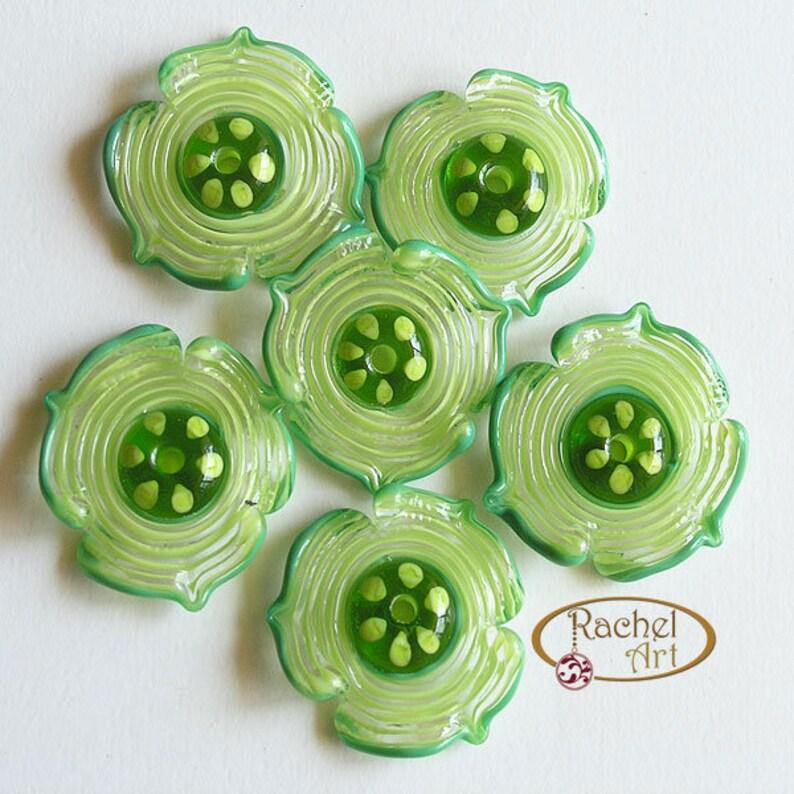 FREE SHIPPING Rachelcartglass Spiral Green Lampwork Flowers Glass Beads Olive Green Handmade Glass Beads Pea Green