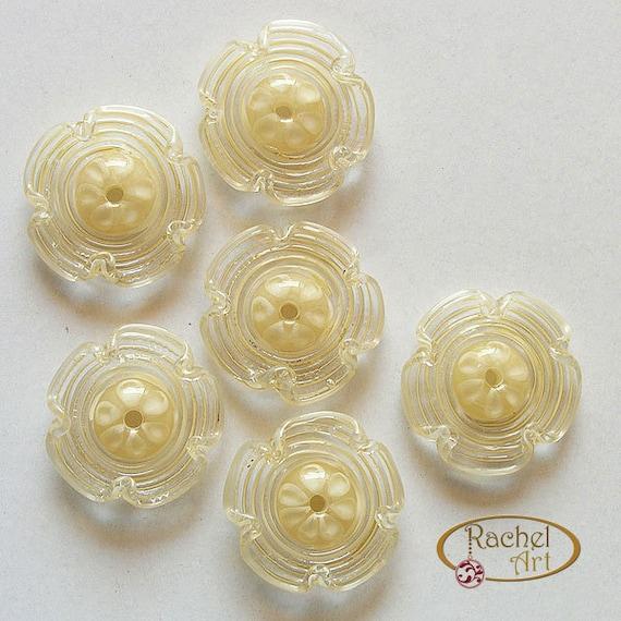 FREE SHIPPING,Handmade Beads Supplies Cranberry and Sky Blue Flowers Lampwork Glass Beads Rachelcartglass