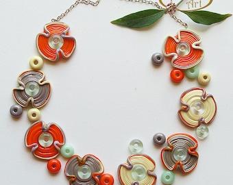 Lampwork Flower Glass Beads, FREE SHIPPING, Set of Handmade Lampwork Glass Disc Beads and Spacers, Rachelcartglass