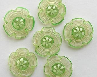 Spiral Cream Green Lampwork Flowers Glass Beads, FREE SHIPPING, Handmade Glass Beads - Rachelcartglass