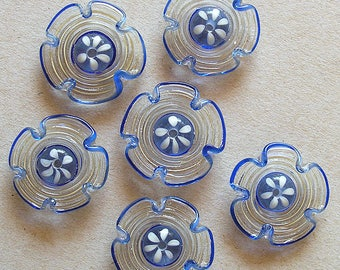 Spiral Lampwork Flowers Glass Beads, FREE SHIPPING, Handmade Glass Beads Cream and Blue - Rachelcartglass