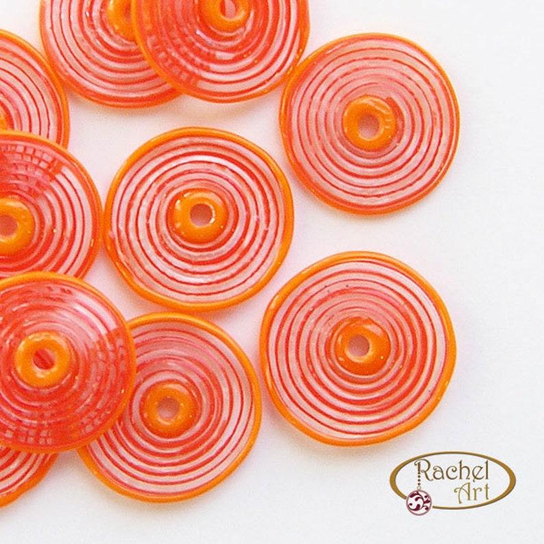 Orange Glass Disc Beads FREE SHIPPING,Set of Handmade Lampwork Spiral Beads Rachelcartglass