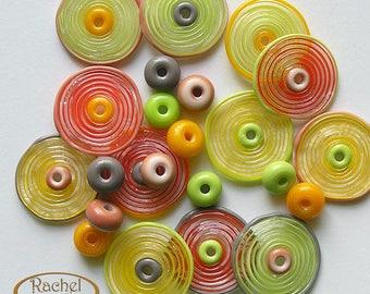 Lampwork Glass Disc Beads, FREE SHIPPING, Handmade SpiralPea Green andYellow, Red- Orange Glass Beads, Spacers Beads - Rachelcartglass