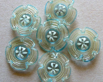 Spiral Lampwork Flowers Glass Beads, FREE SHIPPING, Handmade Glass Beads Cream and Turquoise - Rachelcartglass