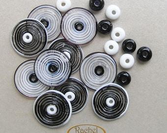 Lampwork Glass Disc Beads, FREE SHIPPING, Handmade Spiral Black and White Glass Beads, Spacers Beads - Rachelcartglass