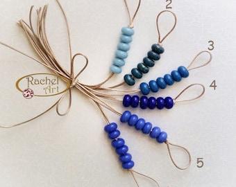 Lampwork Blue Glass Donuts Beads, Opaque Glass Spacers Beads - Rachelcartglass