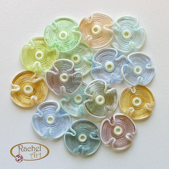 Rachelcartglass Rainbow Spring Flower Lampwork Beads A Set of Handmade Glass Disc Beads FREE SHIPPING