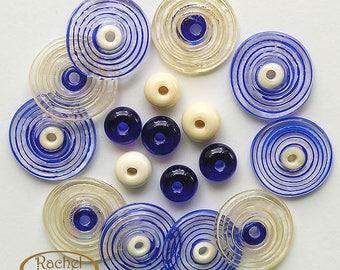 Lampwork Glass Disc Beads, FREE SHIPPING, Handmade Spiral Blue and Cream Glass Beads, Spacers Beads - Rachelcartglass