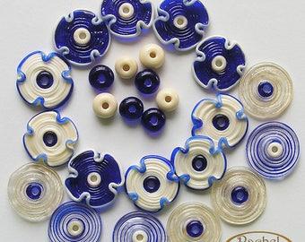 Lampwork Flowers Glass Beads, FREE SHIPPING, Blue and Craem Handmade Glass Beads, Discs and Spacers, Rachelcartglass
