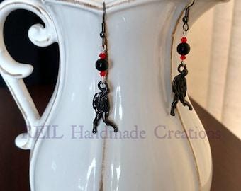 Walking Zombie earrings w/ genuine Black Onyx & Swarovski Crystals