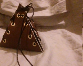 Corset Laced Leather D4 Dice Bag Prototype