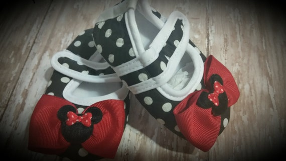3c6f2e616f13b Baby Girl Shoes, Black Polka Dot Minnie Mouse Inspired Crib Shoes...You  Choose from 3 Sizes...0-18 Months