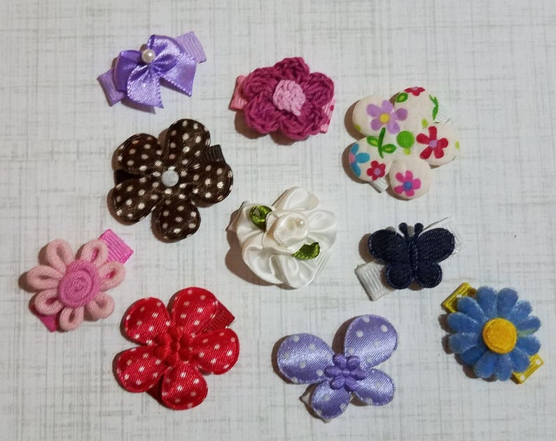 No Slip Baby Snap Clip GRAB BAG - 10 Baby Bow Clips with FREE Shipping