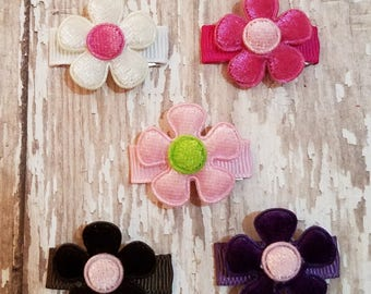 Baby Hair Clips - Flower Hair Clip - Baby Snap Clips - Snap Clip Bow - Baby Girl Clip - Set of 5...Hair Bows that STAY in Fine or Thin Hair